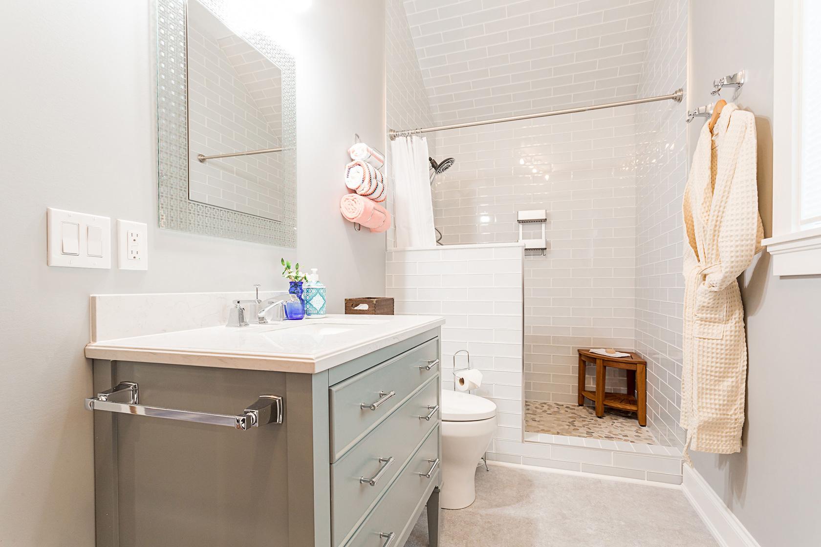 Guest Bathroom Vanity, Robe & Shower